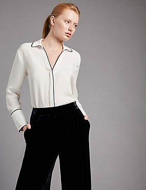 Long Sleeve Tipped Blouse