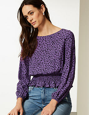 Animal Print Long Sleeve Blouse, PURPLE MIX, catlanding