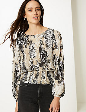 Animal Print Long Sleeve Blouse, IVORY MIX, catlanding