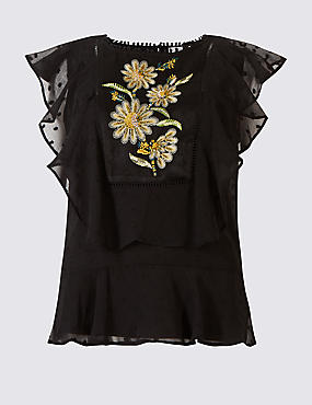 Embroidered Ruffle Round Neck Blouse