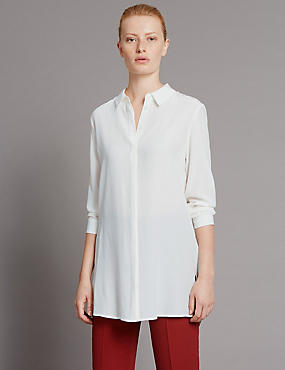 Tailored Fit Pure Silk Longline Shirt