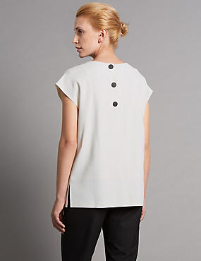 Tailored Fit Round Neck Crepe Shell Top