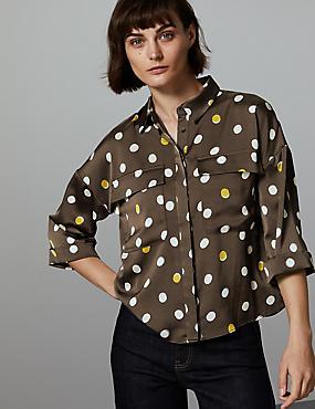 Spotted Long Sleeve Shirt , COCOA, catlanding