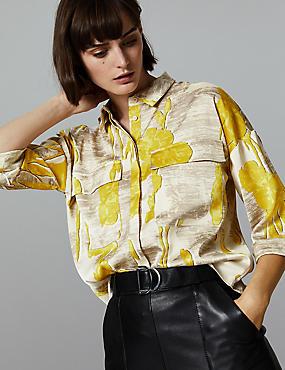Spotted Long Sleeve Shirt , YELLOW MIX, catlanding
