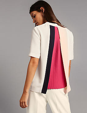 Pleat Back Short Sleeve Shell Top