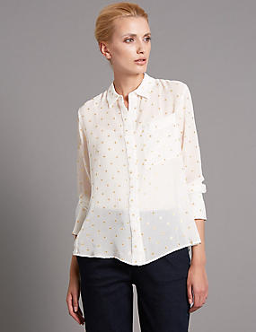 Tailored Fit Silk Rich Spotted Shirt