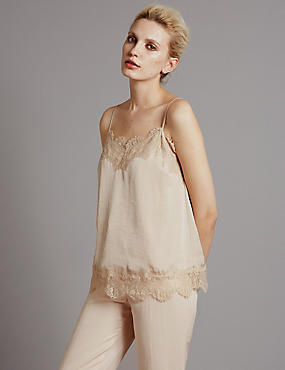 Tailored Fit Satin Lace Trim Blouse