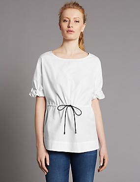 Pure Cotton Round Neck Frill Sleeve Blouse