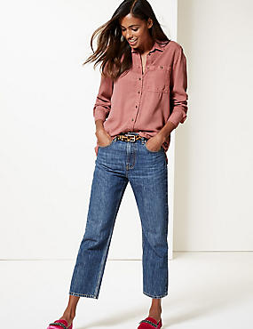 Longline Long Sleeve Shirt , DARK PINK, catlanding
