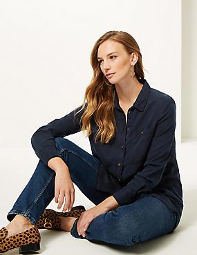Longline Long Sleeve Shirt , NAVY, catlanding