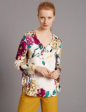 Floral Print Long Sleeve Satin Blouse