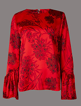 Floral Print Round Neck Long Sleeve Blouse