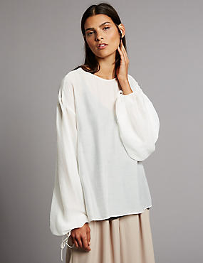 Round Neck Sheer Blouson Sleeve Blouse