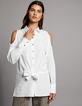 Pure Cotton Cold Shoulder Tie Detail Shirt