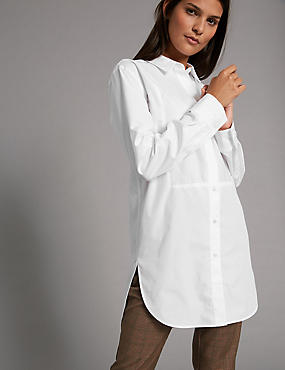 Cotton Rich Poplin Longline Shirt