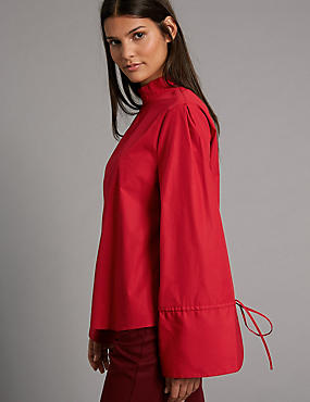 Pure Cotton Poplin Long Sleeve Shell Top