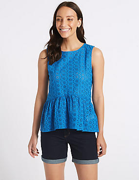 Cotton Rich Broderie Round Neck Blouse, COBALT, catlanding