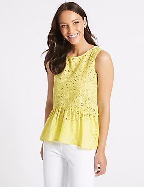 Cotton Rich Broderie Round Neck Blouse, MIMOSA, catlanding