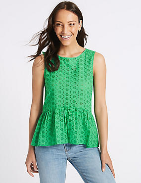 Cotton Rich Broderie Round Neck Blouse, BRIGHT GREEN, catlanding