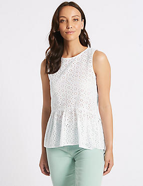 Cotton Rich Broderie Round Neck Blouse, SOFT WHITE, catlanding