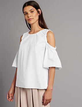 Pure Cotton Cold Shoulder Shell Top