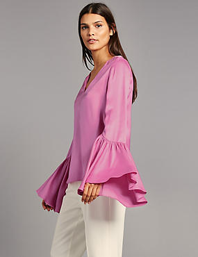 Satin Flared Cuff V-Neck Shell Top