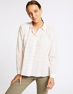 Pure Cotton Checked Long Sleeve Shirt , PINK, catlanding
