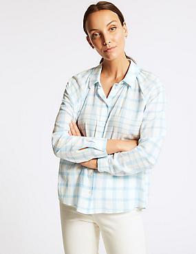 Pure Cotton Checked Long Sleeve Shirt , CHAMBRAY, catlanding