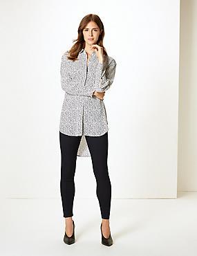 Printed Longline Long Sleeve Shirt, WHITE MIX, catlanding