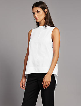 Pure Cotton Poplin Round Neck Shell Top