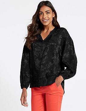 Jacquard Print Notch Neck Long Sleeve Blouse, BLACK, catlanding