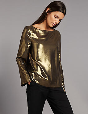 Metallic Slash Neck Long Sleeve Shell Top