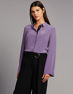 Pure Silk Grosgrain Long Sleeve Shirt