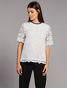 Lace Contrasting Neckline Shell Top