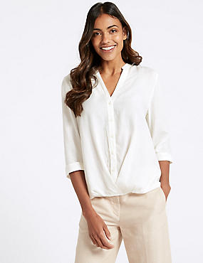 Modal Rich Striped 3/4 Sleeve Blouse , SOFT WHITE, catlanding