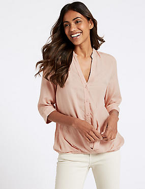 Modal Rich Striped 3/4 Sleeve Blouse , PEACH, catlanding
