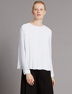 Tailored Fit Panel Pleated Blouse