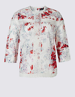 PLUS Pure Cotton Printed Pintuck Blouse