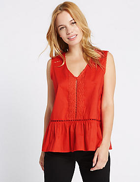 PETITE Pure Cotton V-Neck Sleeveless Blouse