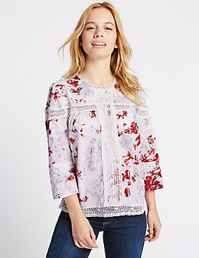 PETITE Pure Cotton Pintuck Printed Blouse