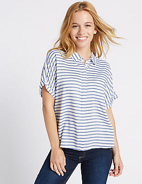 PETITE Striped Short Sleeve Shirt