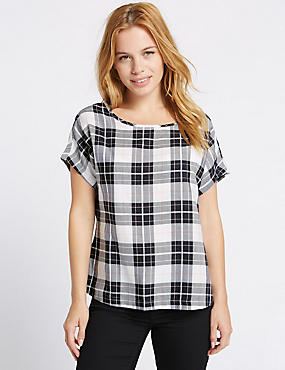 PETITE Modal Blend Checked Shell Top