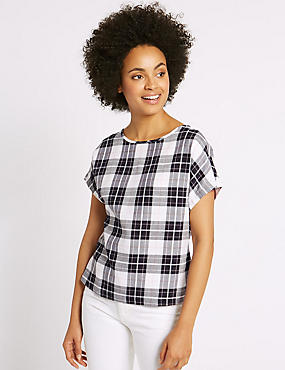 Modal Blend Checked Tie Back Shell Top