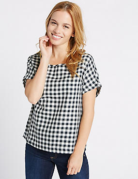 PETITE Checked Tie Back Shell Top
