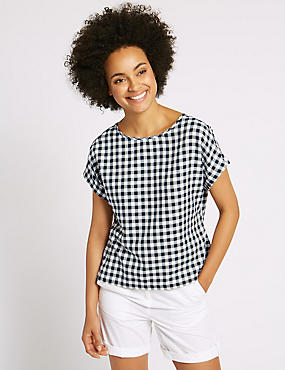 Cotton Blend Gingham Short Sleeve Shell Top