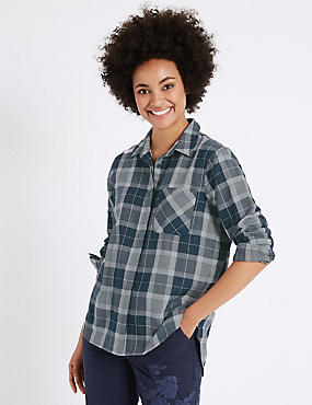 Pure Cotton Checked Double Cloth Shirt