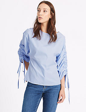 Pure Cotton Slash Neck Ruched Sleeve Blouse