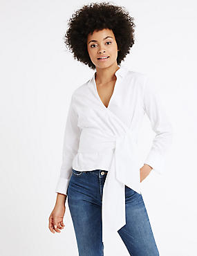 Pure Cotton Poplin Wrap Long Sleeve Blouse