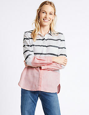 Pure Cotton Striped Colour Block Shirt