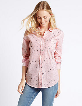 Pure Cotton Embroidered Spot Striped Shirt